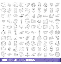 100 dispatcher icons set outline style vector