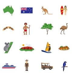 Australia Flat Icons Set vector image vector image