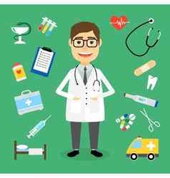 Doctor surrounded by medical icons vector image vector image