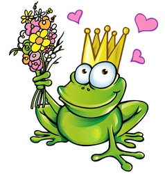 prince frog with bouquet vector image vector image