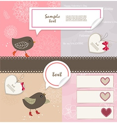 Valentines Day scrapbook elements vector image vector image