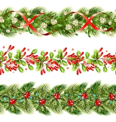 Christmas Berry Border Seamless Pattern Set vector image
