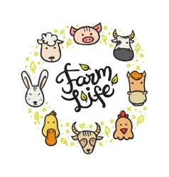 farm animals doodle style circle frame with vector image