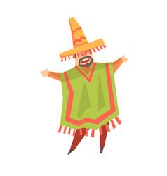 mexican man singer character cartoon vector image