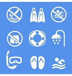 Swimming scuba diving sport icons set vector