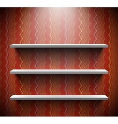 Three lightened shelves on old brown wall vector image