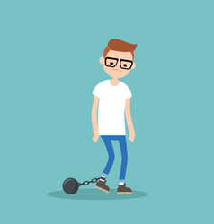 young exhausted nerd wearing shackles sad tired vector image vector image