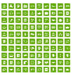 100 discussion icons set grunge green vector image