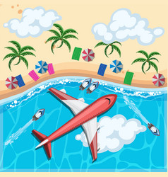 aerial view of airplane flying over the ocean vector image