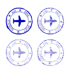 Air mail post service faded round stamp vector