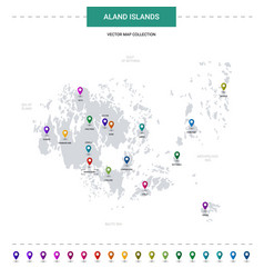 Aland islands map with location pointer marks vector