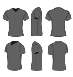 All views mens black short sleeve v-neck t-shirt vector