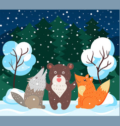 animals like bear wolf and fox in winter forest vector image