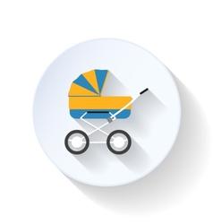 Baby buggy flat icon vector