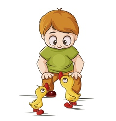 Baby with ducklings vector
