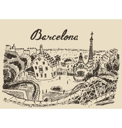 Barcelona landscape Spain hand drawn sketch vector image