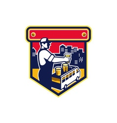 Bartender Beer City Van Crest Retro vector
