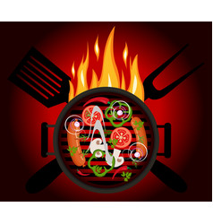 bbq logo on a red background vector image