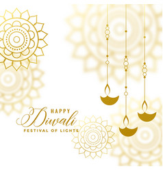 Beautiful happy diwali white and gold decorative vector