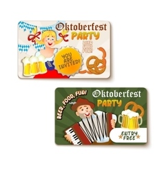 Beautiful Oktoberfest label with beer and pretzel vector