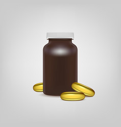 Blank brown pills container with pills of omega 3 vector