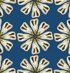 Blue retro floral background vector
