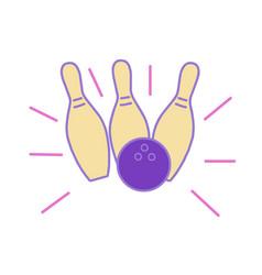 Bowling ball hitting strike monoline vector