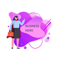 business hero woman holding briefcase in hands vector image