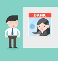 Businessman at bank counter banker asking for vector