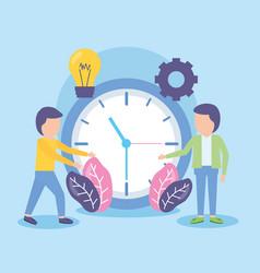 businessmen time clock vector image