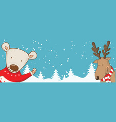 Cartoon banner for holiday theme with bear and vector