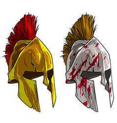 cartoon bronze spartan or greek warrior helmet vector image