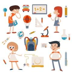 Cartoon School Retro Children Set vector