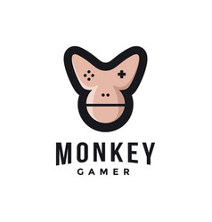 Chimp gamer logo joystick monkey face vector