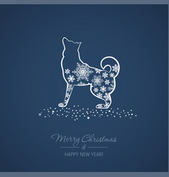 Christmas and new year card with a dog vector