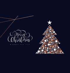 christmas and new year copper circle tree card vector image