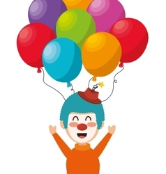 Clown balloons festival funfair funny design vector