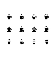 Coffee cup and Tea mug icons on white background vector image