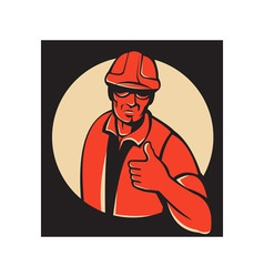 Construction worker thumb up retro vector