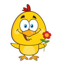 cute yellow chick character holding a flower vector image
