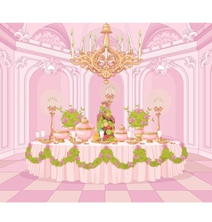 Dining room in princess palace vector
