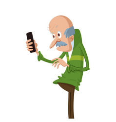 elderly man with smartphone vector image