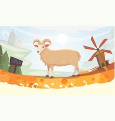 farm milk sheep cartoon vector image