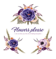 Floral wine bouquet design with rowan vector