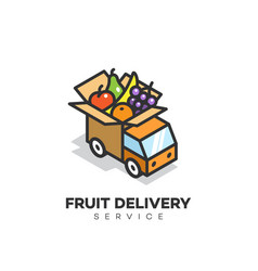 fruit delivery service logo vector image