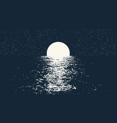 Full moon at the night sea vector
