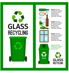 Garbage green container info with glass vector