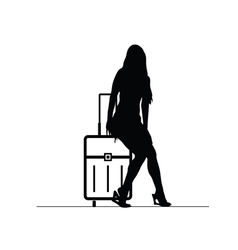 girl with travel bag silhouette vector image