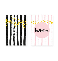 gold glitter cards with dots and sequins wedding vector image