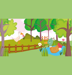 goose and duck in lake flowers fence farm animal vector image